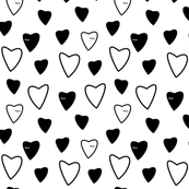 Sleeping Hearts - Black on white