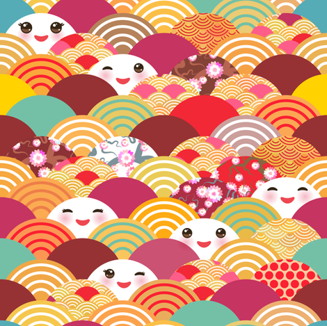 spring in japan, japanese cherry sakura flowers, cute kawaii faces with a smile, bright color fabric by ekaterinap on Spoonflower - custom fabric