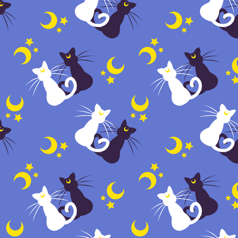 Moon Kitties (small) fabric by elladorine on Spoonflower - custom fabric