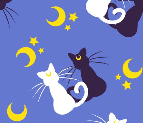 Moon Kitties (large) fabric by elladorine on Spoonflower - custom fabric