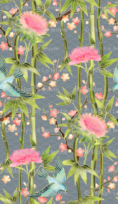 Bamboo, Birds and Blossoms on grey - small