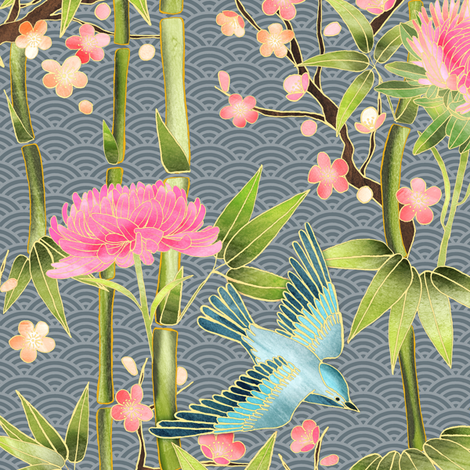 Bamboo, Birds and Blossoms on grey - small fabric by micklyn on Spoonflower - custom fabric
