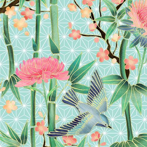 Bamboo, Birds and Blossoms on soft blue - small fabric by micklyn on Spoonflower - custom fabric