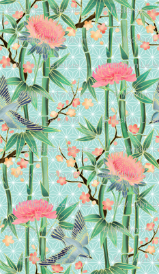 Bamboo, Birds and Blossoms on soft blue