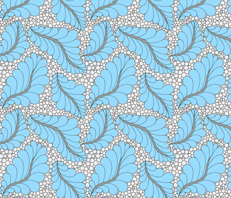 Feather and Pebbles Aqua and Gray fabric by leah_day on Spoonflower - custom fabric