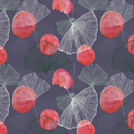 Ginkgo fabric by chasingamy__ on Spoonflower - custom fabric