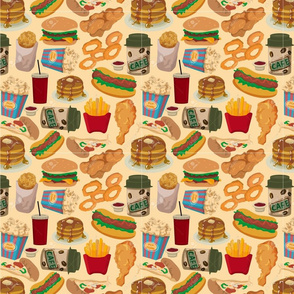 9109655-seamless-fast-food-pattern-Stock-Vector-cartoon