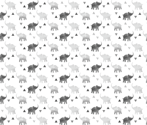 Elephants & Triangles - Silver fabric by hilarycaroline on Spoonflower - custom fabric