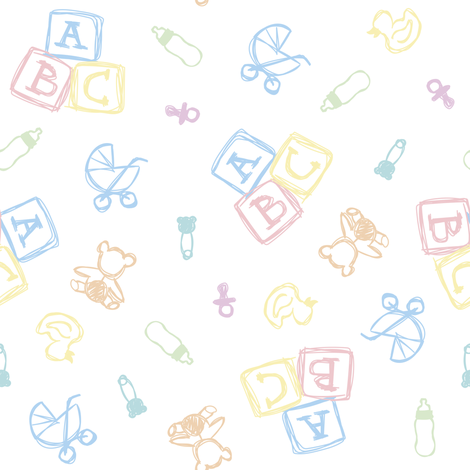 Baby Symbols Sketch - White Cloud fabric by elliottdesignfactory on Spoonflower - custom fabric