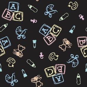 Baby Symbols Scribble - Black Chalkboard