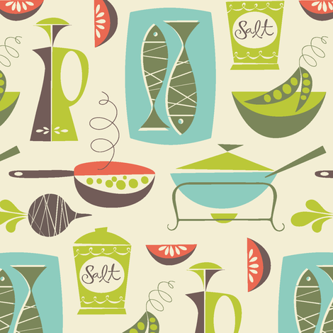 in the kitchen - cream fabric by studiojenny on Spoonflower - custom fabric