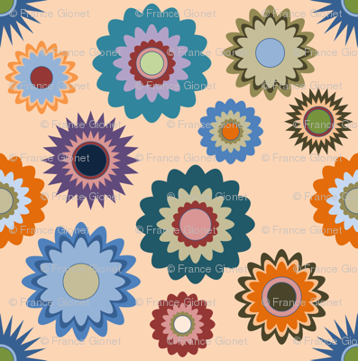 April in the Garden - Flowers 2 on Orange