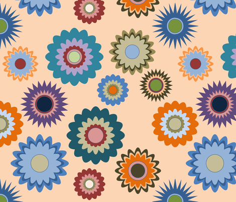 April in the Garden - Flowers 2 on Orange fabric by coloursoffrance on Spoonflower - custom fabric