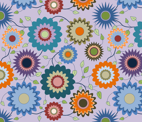 April in the Garden - Flowers 2 with Branches on Purple fabric by coloursoffrance on Spoonflower - custom fabric