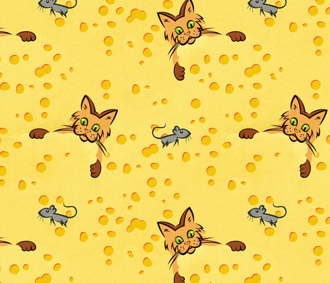 cat and mouse fabric by hannafate on Spoonflower - custom fabric