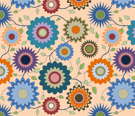 April in the Garden - Flowers 2 with Branches on Orange fabric by coloursoffrance on Spoonflower - custom fabric