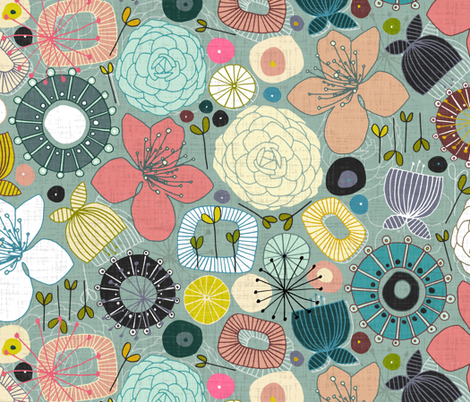oriental blooms fabric by scrummy on Spoonflower - custom fabric