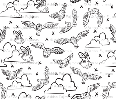 owls black + white