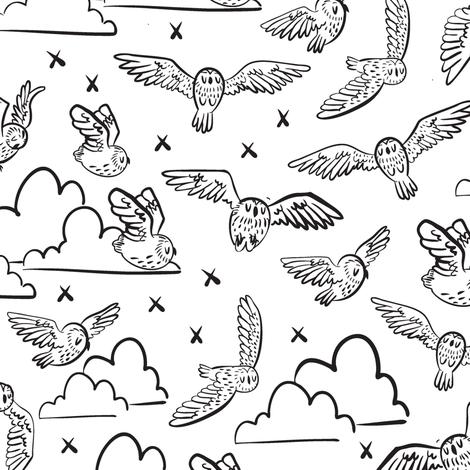 owls black + white fabric by kauaidrygoods on Spoonflower - custom fabric
