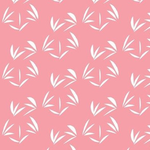White Oriental Tussocks on Carnation Pink - Small Scale