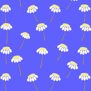 Yellow Daisies on Blue