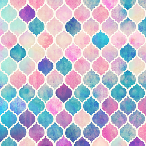 Rainbow Pastel Watercolor Moroccan Pattern extra small fabric by micklyn on Spoonflower - custom fabric