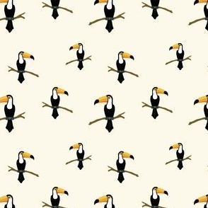Toucan // yellow beige tucan bird tropical animal print