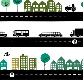 Roads vehicles and the city green