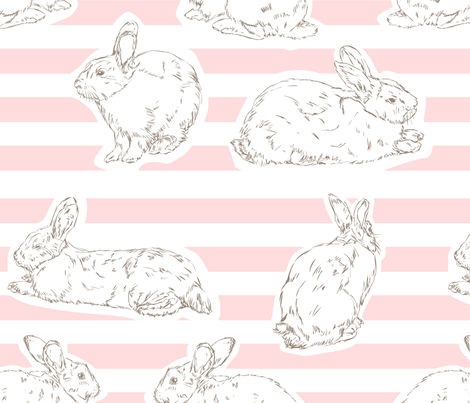 Pink Bunny Pattern fabric by fromtheartstudio on Spoonflower - custom fabric