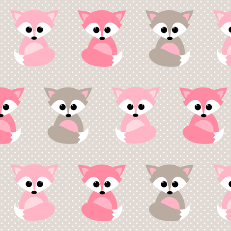 Baby foxes in pink fabric by heleenvanbuul on Spoonflower - custom fabric