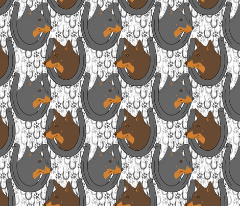 Lancashire heeler horseshoe portraits fabric by rusticcorgi on Spoonflower - custom fabric
