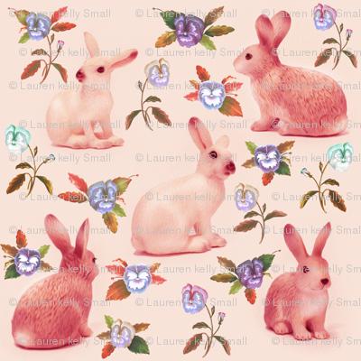 Bunnies in the garden, pink