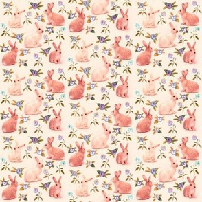 Bunnies in garden, peachy pink