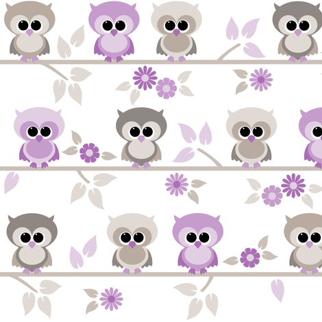 Baby owls in purple fabric by heleenvanbuul on Spoonflower - custom fabric