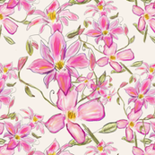 Pink Clematis Watercolour Floral Pattern