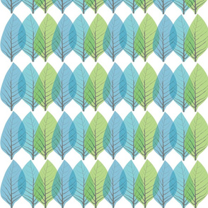 Leaves in Blue and Green-ed