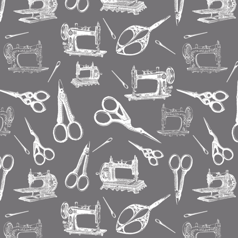 Vintage Sewing Supplies on Grey - Small fabric by thinlinetextiles on Spoonflower - custom fabric