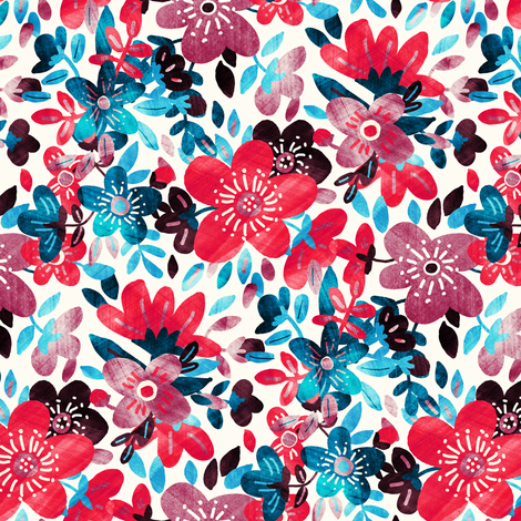 Cheerful Red and Blue Floral Collage fabric by micklyn on Spoonflower - custom fabric