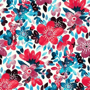 Cheerful Red and Blue Floral Collage