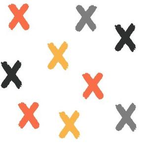 Black Gray Yellow Orange X's