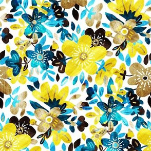 Cheerful Yellow and Turquoise Floral Collage