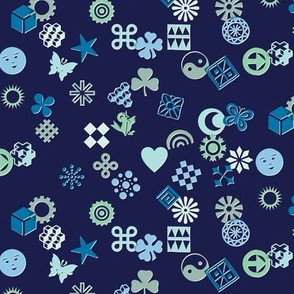 Match Game* (Blues on Jackie Blue) || typography ornaments symbols pictographs toss starburst geometric star butterfly bird sun shamrock flower heart scatter