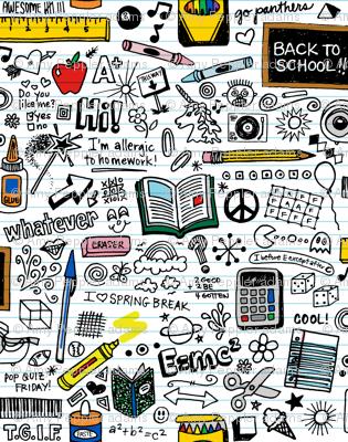Doodled School Supplies (Mini) || doodles graffiti children math science 80s pen pencil drawings notebook paper kids