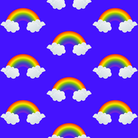 Rainbows in Blue fabric by ushadesigns on Spoonflower - custom fabric