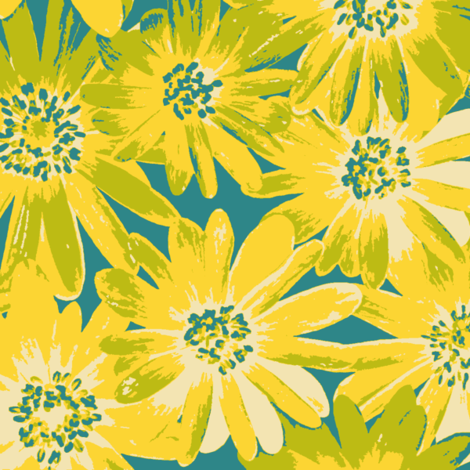 yellow anenomes on teal fabric by weavingmajor on Spoonflower - custom fabric