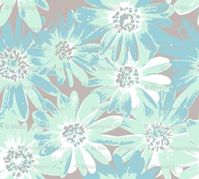 mint anenomes on grey