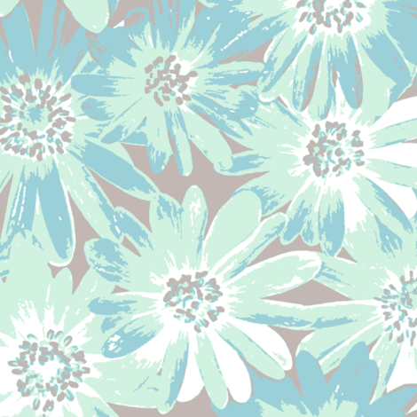 mint anenomes on grey fabric by weavingmajor on Spoonflower - custom fabric