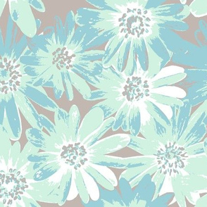mint anenomes on grey