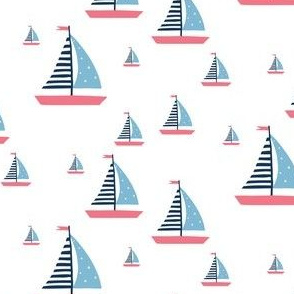 Pink and Blue Sailboats