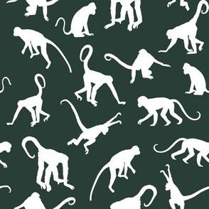 Monkeys on Dark Jungle Green - Small